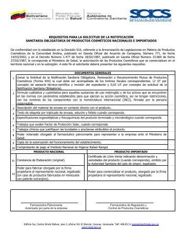 REQUISITOS PARA LA SOLICITUD DE LA NOTIFICACIÓN ...