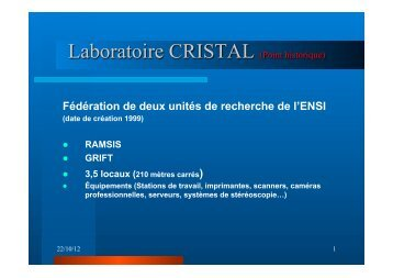 Laboratoire CRISTAL (Point historique) - EuroAfrica-ICT