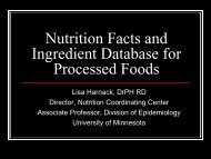 Nutrition Facts and Ingredient Database for Processed Foods
