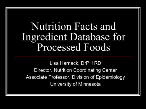 Ingredient Database for Processed Foods