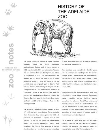 History of the Adelaide Zoo - Zoos South Australia