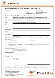 Anmeldung bitte per Fax an die Nummer (0 52 07) 92 ... - Synaxon AG