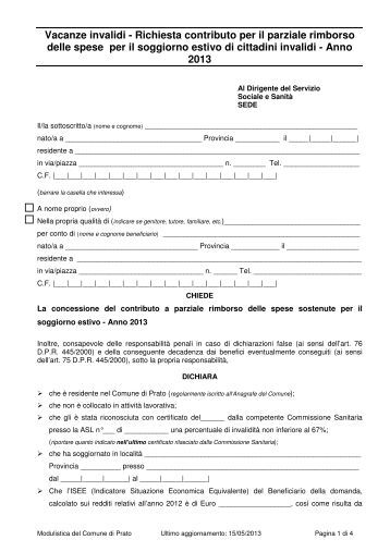 """Modulo richiesta contributi """"Vacanze invalidi"""" 2013 - PO-Net Rete ..."""