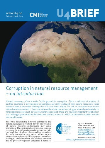 Corruption in natural resource management - CMI