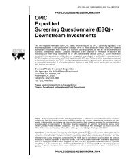 OPIC Expedited Screening Questionnaire (ESQ) - Downstream ...