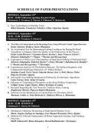 SCHEDULE OF PAPER PRESENTATIONS