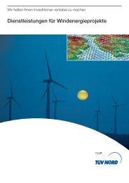 Dienstleistungen für Windenergieprojekte - TÜV Nord
