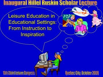 Leisure Education in Educational Settings: From Instruction to ...