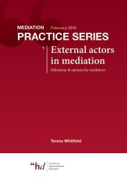 External actors in mediation Practice SerieS - UN Peacemaker