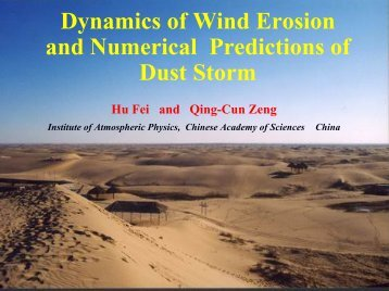 Dynamics of wind erosion and numerical prediction ofB dust storm