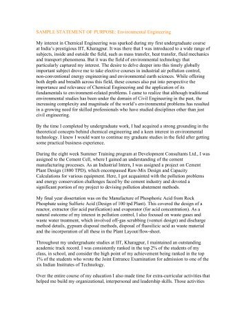 personal statement phd environmental engineering The environmental engineering collaborative program (eecp) is an interdisciplinary collaborative students who complete the eecp requirements will obtain the following statement on their participating degree programs chemical engineering and applied chemistry - masc, meng, phd.