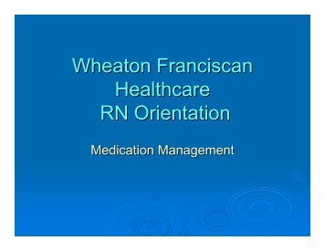 Medication Management - Wheaton Franciscan Healthcare