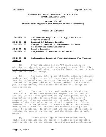 chapter 20-x-23 information required for tobacco permits - Alabama ...