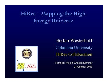 HiRes – Mapping the High Energy Universe - High Resolution Fly's ...