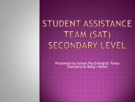 Student Assistance Team (SAT) Secondary Level