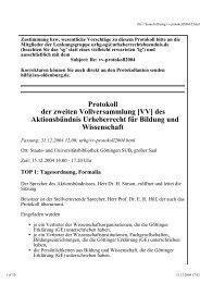 Protokoll der zweiten Vollversammlung [VV] des Aktionsbündnis ...