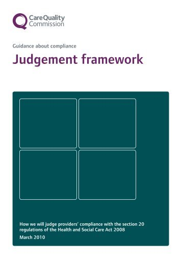 Judgement framework - Care Quality Commission