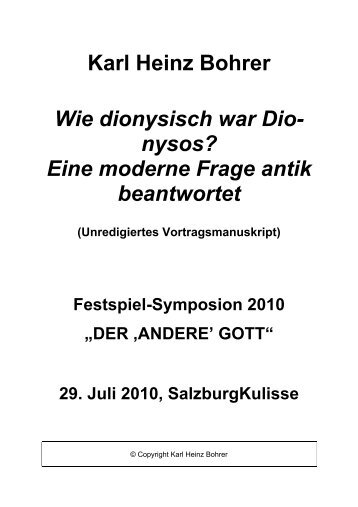 Eine moderne Frage antik beantwortet - Freunde der Salzburger ...