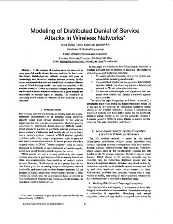 Modeling of distributed denial of service attacks in ... - IEEE Xplore