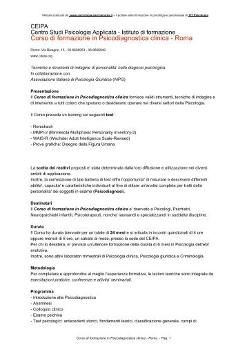 La diagnostica l scher nella psicologia clinica for Corso di arredatore d interni roma