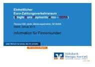 SEPA Präsentation für Firmenkunden - Volksbank Breisgau Nord