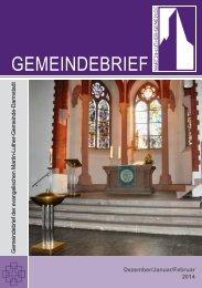 Gemeindebrief Dez 2013 - Feb 2014 - Martin-Luther-Gemeinde