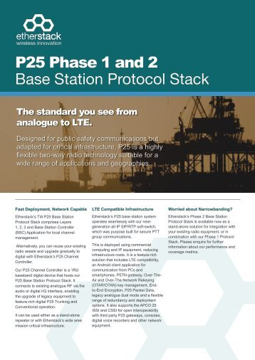 P25 Phase 1 and 2 Base Station Protocol Stack - Etherstack