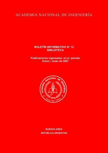 Boletín Informativo 12. Biblioteca. Enero-Junio de 2007 - Academia ...
