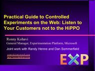 Practical Guide to Controlled Experiments on the Web ... - Exp Platform