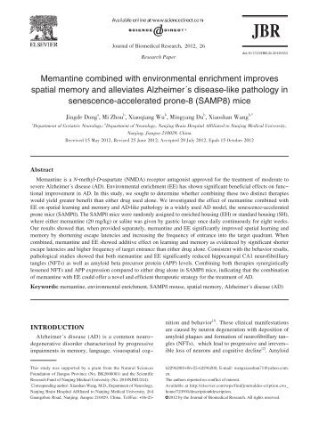 Memantine combined with environmental enrichment ... - Journal
