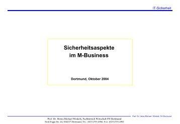 Sicherheitsaspekte im M-Business - Prof. Dr. Heinz-Michael Winkels