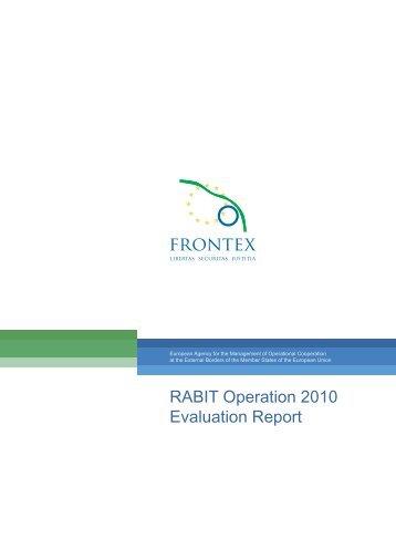 RABIT Operation 2010 Evaluation Report - Frontex - Europa