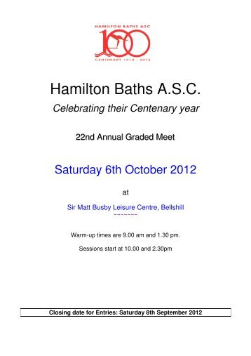 Hamilton Baths ASC Graded Meet on Saturday 6th ... - Swim Scotland