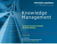 January 16, 2008 – Knowledge Management - ASQ Baltimore 0502