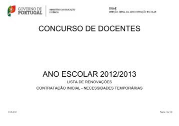 CONCURSO DE DOCENTES ANO ESCOLAR 2012/2013 - Fenprof