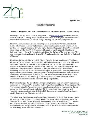 Trump University and Donald Trump - Zeldes & Haeggquist, LLP