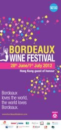Hong Kong guest of honour 28th June/1st July ... - Bordeaux fête le vin