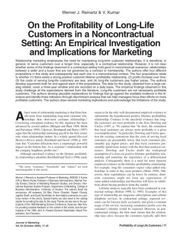 On the Profitability of Long-Life Customers in a Noncontractual Setting