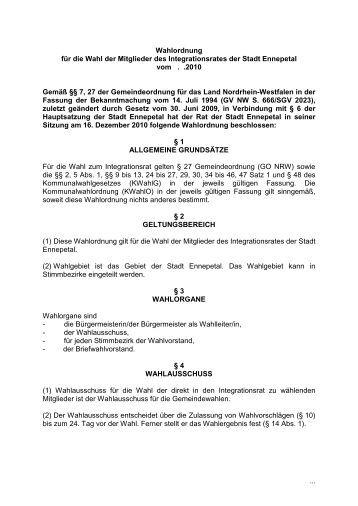 Wahlordnung für die Wahl der Mitglieder des ... - Wir Ennepetaler