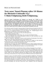 Trotz neuer Tunnel-Planung sollen 110 Bäume der Rheinufer ...