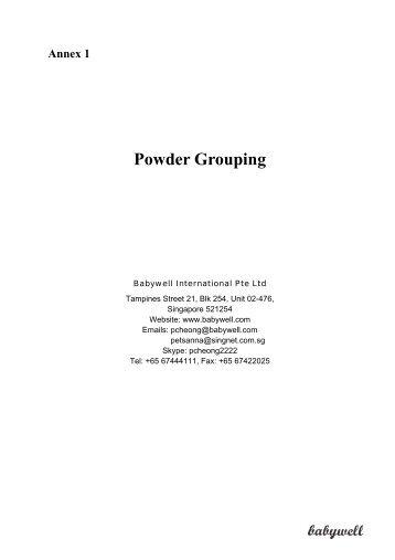 Annex 1 Powder Grouping - Babywell
