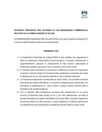 Oggetto : RICHIESTA PREVENTIVI PER ACCORDO DI - Ipasvi