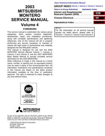 2007 mitsubishi outlander service manual volume 1 outlander forum 2003 mitsubishi montero service manual pajero 44 off fandeluxe Images