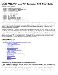 Intel(R) Centrino(R) 6200 and 6300 User Guide - Puget Systems