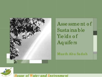Assessment of Sustainable Yields of Aquifers - Hwe.org.ps