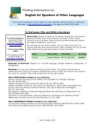 Finding Information on English for Speakers of Other Languages