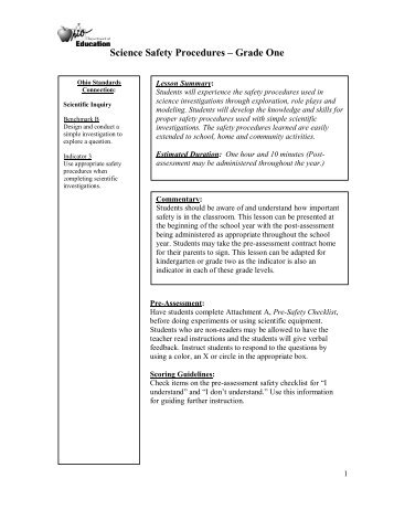 Science Safety Procedures – Grade One - ODE - Ohio Department ...