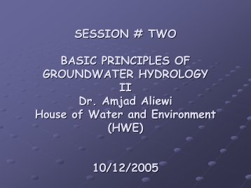 Basic principles of groundwater hydrology II (Session ... - Hwe.org.ps