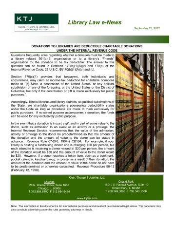 Library Law e-News - WebJunction