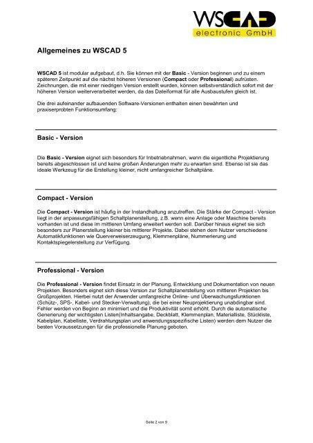 Leistungsmerkmale WSCAD 5 – CAD für die Elektrotechnik
